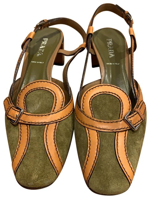 Item - Olive Suede with Tan Detail and Navy Blue Patent Heels Pumps Size EU 39 (Approx. US 9) Regular (M, B)