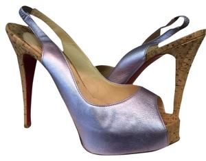 Christian Louboutin Peep Toe Slingback Cl Very Prive Lilac Pumps