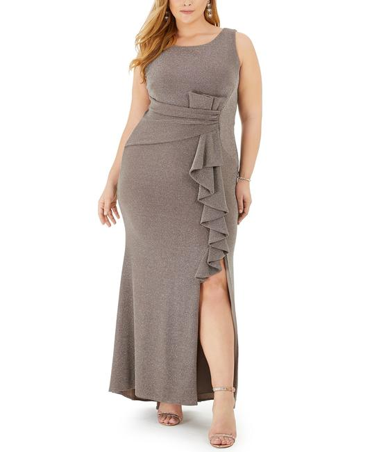 Item - Taupe Silver Ruffled Glitter Gown Long Formal Dress Size 16 (XL, Plus 0x)