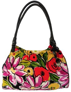 Brighton Floral Embroidered Canvas Braided Leather Shoulder Bag