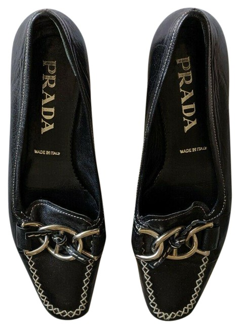 Item - Black Leather Loafers with Silver Hardware Flats Size EU 36 (Approx. US 6) Regular (M, B)