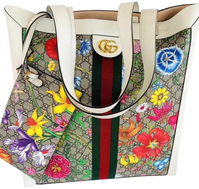 Item - Bag Ophidia Gg Flora Large White/Multicolor Leather Tote