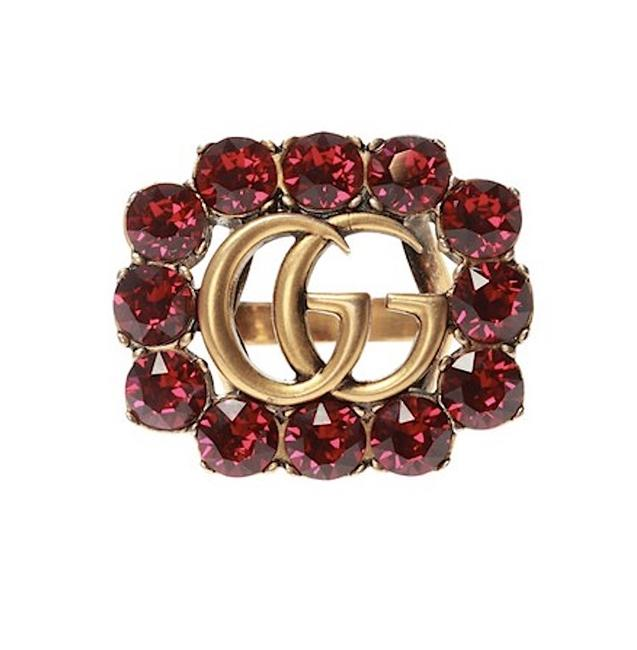 Gucci Red Gold Gg Logo Flower Crystals Antique 6 Ring Gucci Red Gold Gg Logo Flower Crystals Antique 6 Ring Image 1
