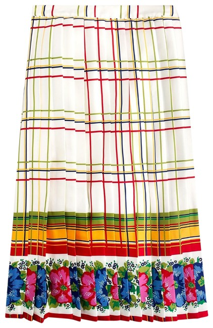 Item - Cream Multicolor-red Yellow Blue Moss Pleated with Floral Border Skirt Size 8 (M, 29, 30)
