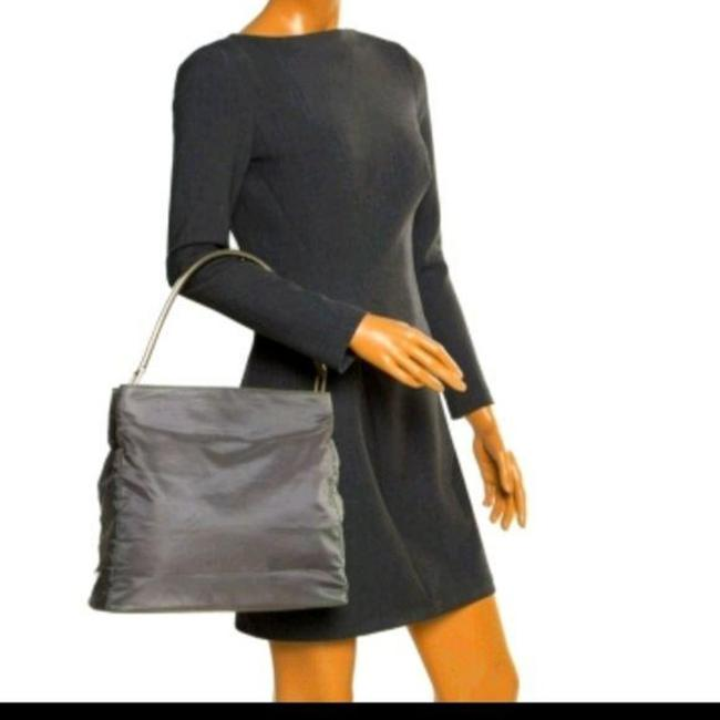 Item - Extra Large Dark Tote with Metal Handle Green Silver Canvas Shoulder Bag