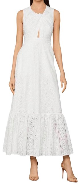 Item - White Cotton Eyelet Embroidered Maxi Long Cocktail Dress Size 2 (XS)