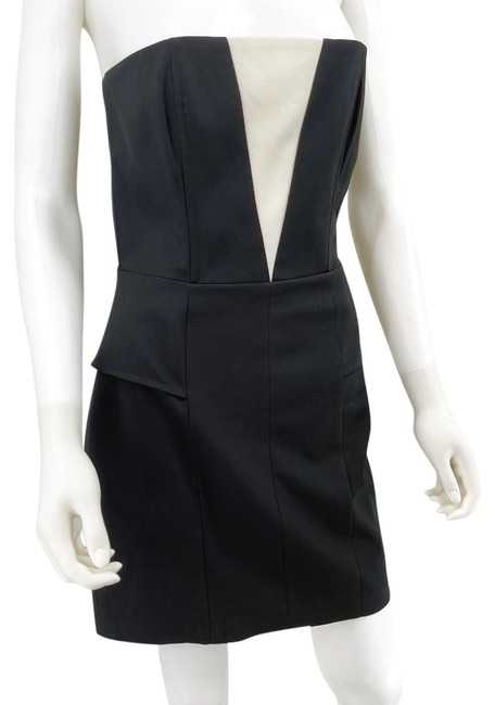 Item - Black And White Strapless Mini Short Night Out Dress Size 6 (S)