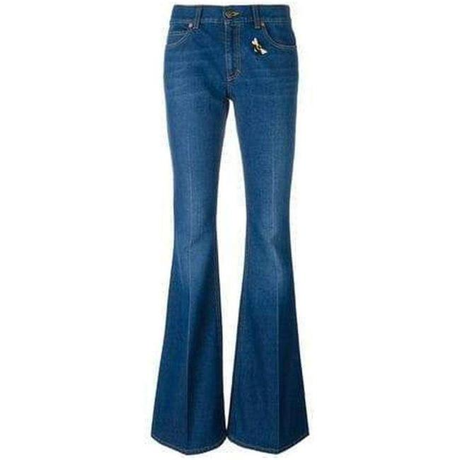 Item - Blue Medium Wash With Bee & Butterfly Patches Flare Leg Jeans Size 32 (8, M)