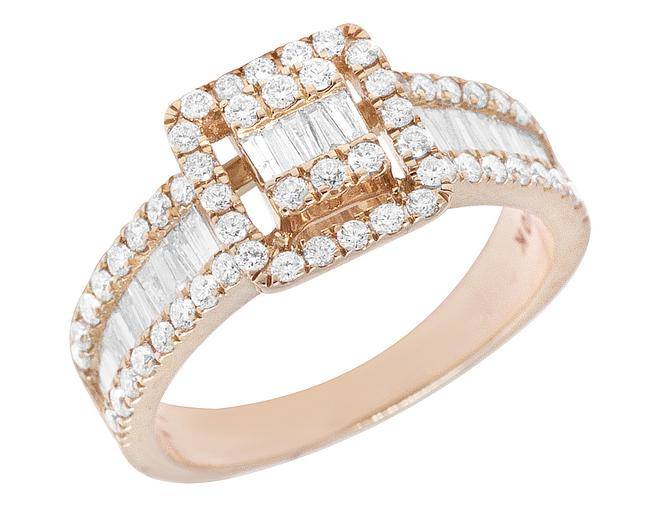 Item - Rose Gold 10k Invisible Baguette 1.25ct Real Diamond Engagement 9mm Ring