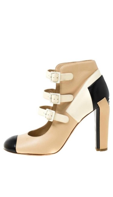 Item - Black/Nude Tricolor Leather Strappy Ankle Boots/Booties Size EU 38.5 (Approx. US 8.5) Regular (M, B)