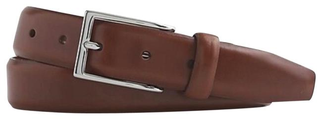 Item - Brown and Silver Men's Italian Leather Dress Belt