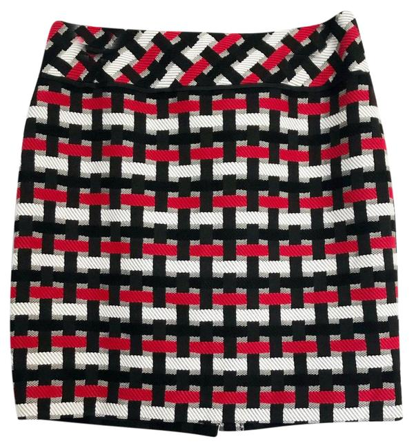 Item - Black Red and White Woven Texture Skirt Size 10 (M, 31)