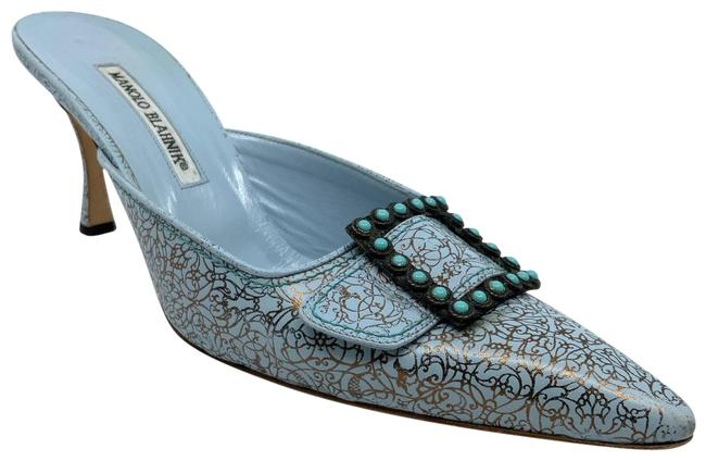 Item - Cornflower Blue Blue/ Copper Floral Printed with Turquoise Stud Buckles Mules/Slides Size US 11.5 Regular (M, B)