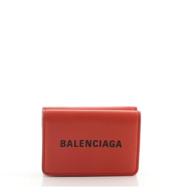 Item - Red Logo Trifold Leather Mini Wallet