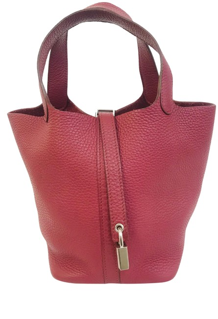 Item - Picotin Taurillon Clemence Lock 18 Pm Burgundy Leather Tote