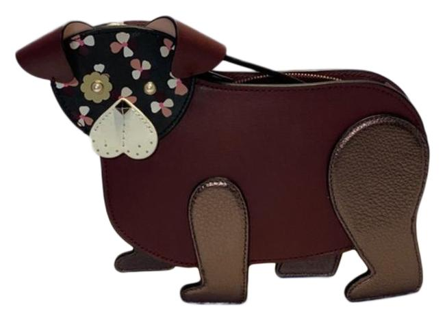 Item - Dog Floral Pup Brown Pink Leather Cross Body Bag