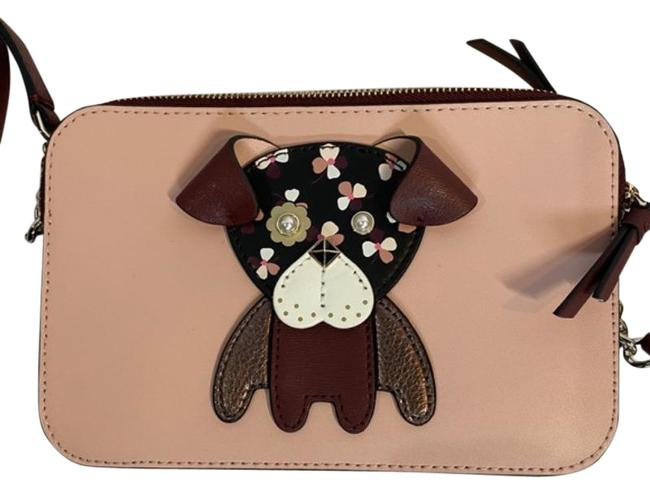 Item - Floral Pup Small Pink Brown Leather Cross Body Bag