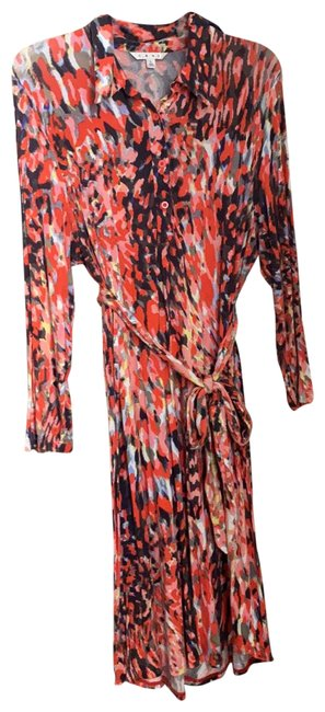 Item - Multicolored Red 374 Abstract Mid-length Work/Office Dress Size 12 (L)