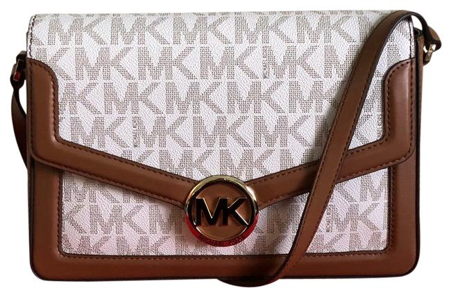 Item - White Brown Leather Cross Body Bag