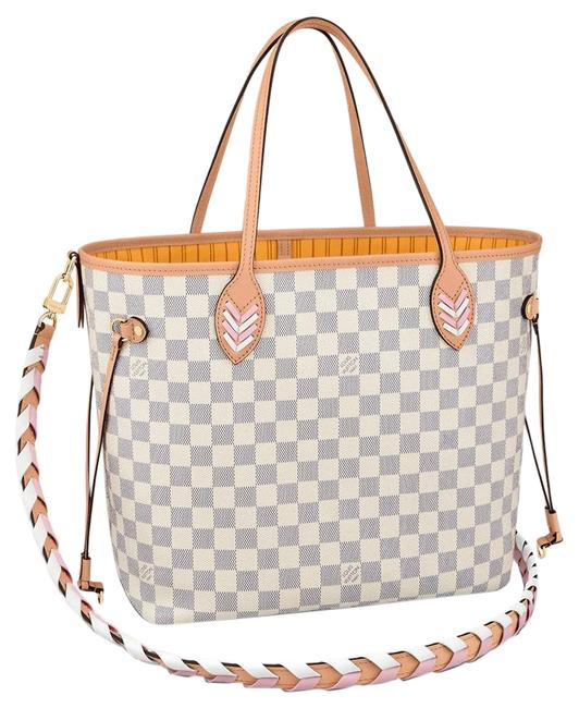 Item - Neverfull New Rare Braided Shoulder Strap Limited Edition White Damier Azur Canvas Tote