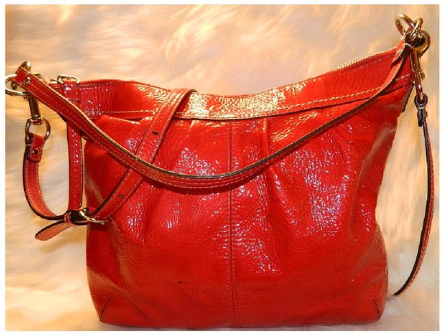 Item - Soho Rare Red Convertible Bright Red-silver Patent Leather Hobo Bag