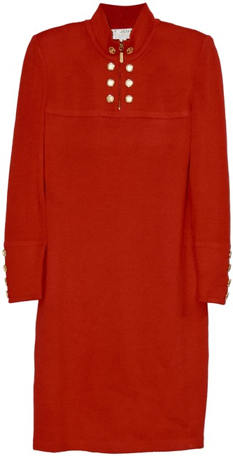 Item - Red Haute Couture Knit Mid-length Work/Office Dress Size 4 (S)