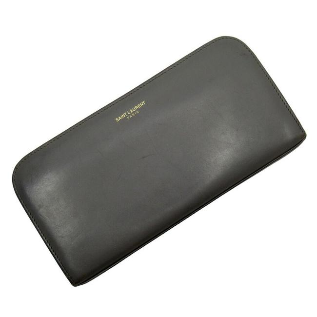 Item - Gray Round Zipper Leather Wallet