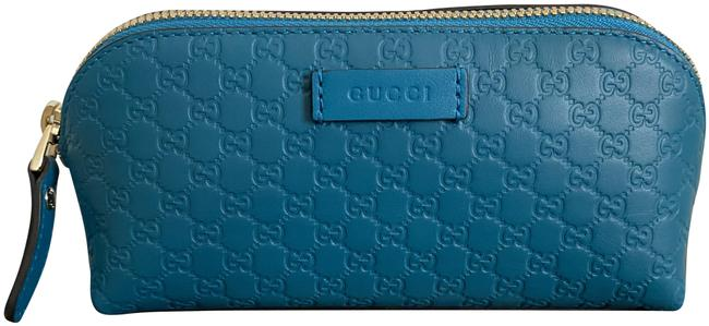 Item - Blue Clutch Micro ssima Logo Embossed Leather Makeup Cosmetic Bag