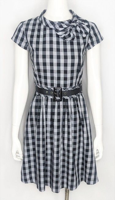 Item - Black & Gray ~nwt~ Cotton Checked Neck Bow Belted Fit Flare Mid-length Work/Office Dress Size 8 (M)