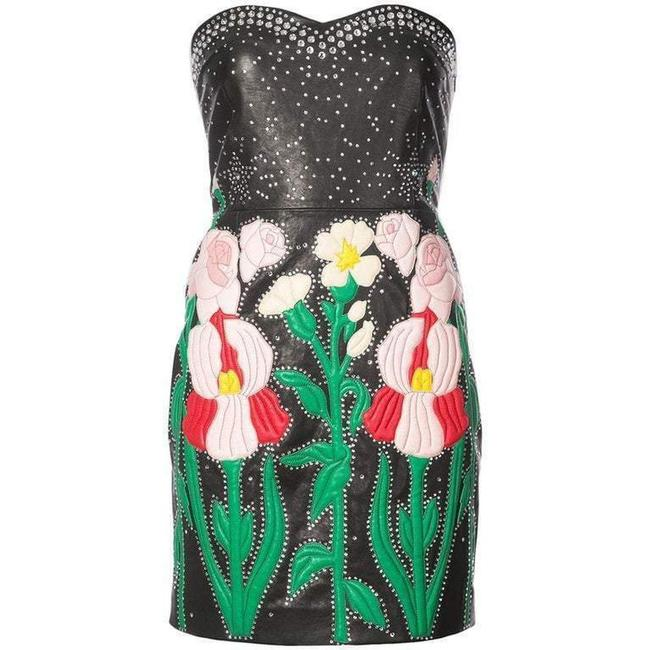 Item - Multicolor Leather Flower Intarsia Strapless Short Cocktail Dress Size 4 (S)