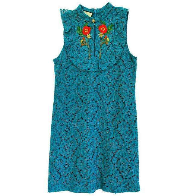 Item - Green Cluny Lace Embroidered Rose Short Casual Dress Size 10 (M)