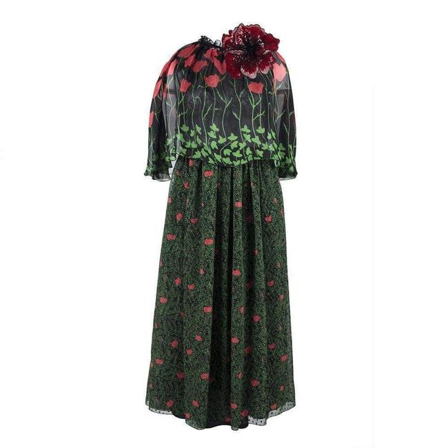 Item - Green Printed Fil Coupe Cape Mid-length Cocktail Dress Size 6 (S)