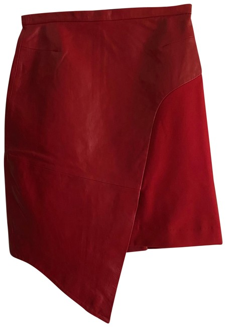 Item - Red Simone S Leather Skirt Size 12 (L, 32, 33)