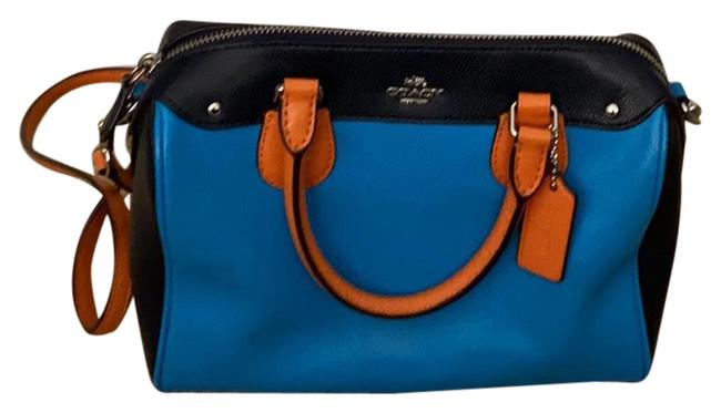 Item - Bennett Mini In Colorblock Bright Blue with Navy Blue and Orange Trim Leather Satchel