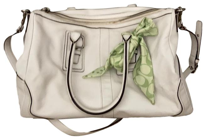 Item - With Handles and Straps and Lime Green Monogram Scarf White Leather Satchel
