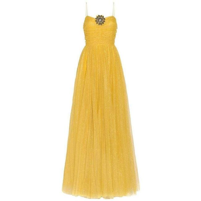 Item - Yellow Glitter Tulle Gown Long Formal Dress Size 2 (XS)