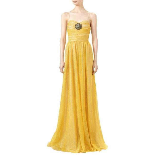 Gucci Yellow Glitter Tulle Gown Long Formal Dress Size 2 (XS) Gucci Yellow Glitter Tulle Gown Long Formal Dress Size 2 (XS) Image 2