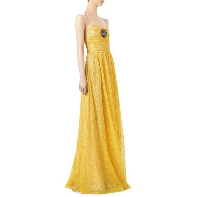 Gucci Yellow Glitter Tulle Gown Long Formal Dress Size 2 (XS) Gucci Yellow Glitter Tulle Gown Long Formal Dress Size 2 (XS) Image 3