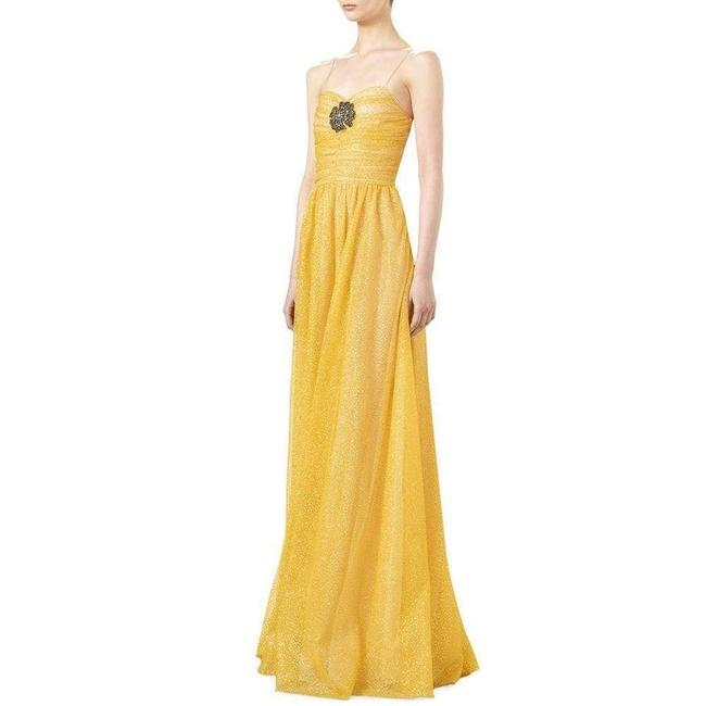 Gucci Yellow Glitter Tulle Gown Long Formal Dress Size 2 (XS) Gucci Yellow Glitter Tulle Gown Long Formal Dress Size 2 (XS) Image 5