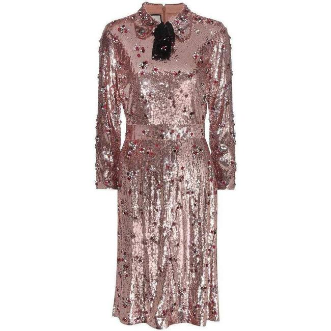 Item - Pink Sequins with Crystal Embroidered Mid-length Cocktail Dress Size 6 (S)