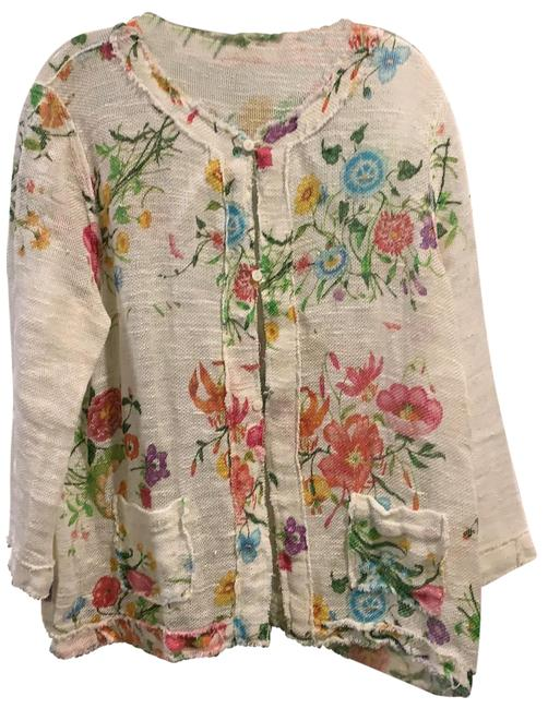 Item - White with Color Linen Reversable Cardigan Size 8 (M)