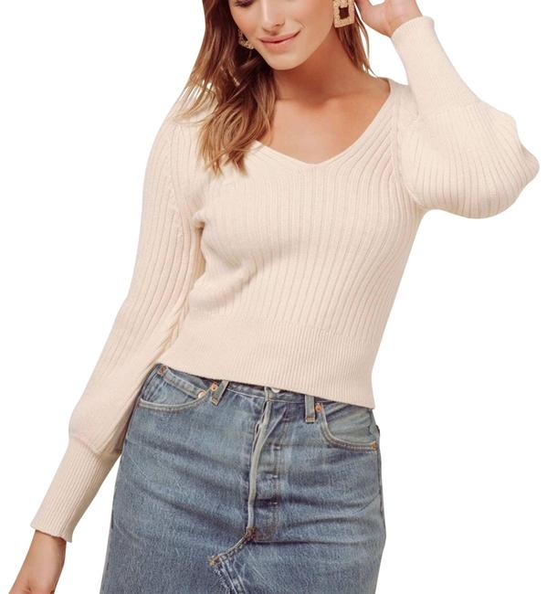 Item - Mila Ribbed Knit Puff Sleeves Beige Sweater