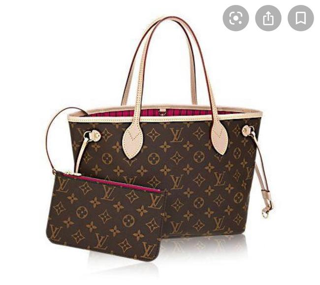 Item - Neverfull New Rare Pm Monogram with Pink Pivone with Wallet Pouch Brown Canvas Tote