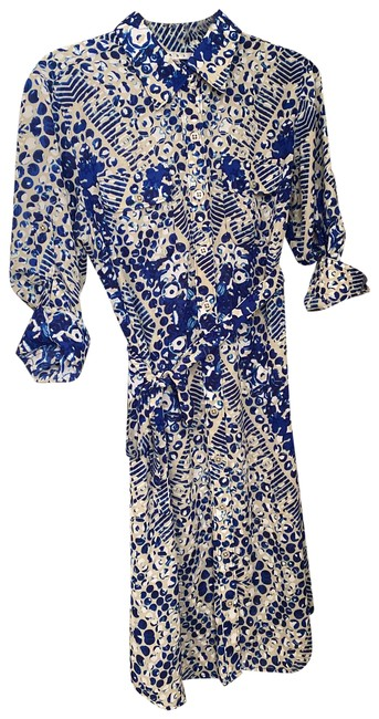 Item - Multicolored Royal Blue and White Style 422 Mid-length Work/Office Dress Size 12 (L)