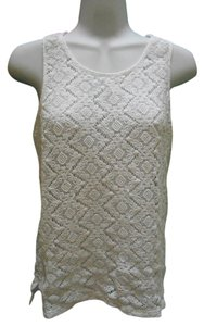L'affaire Pure Cotton Lace Shirt Sweater Sleeveless Pullover Pullover Summer Medium M Med 8 10 Victorian Ornate Bohemian Crochet Top White
