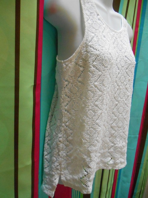 L'affaire Pure Cotton Shirt Sweater Sleeveless Pullover Pullover Summer Medium M Med 8 10 Victorian Ornate Bohemian Crochet Top White