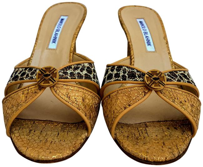 Item - Gold Tailobowe Criss Cross Slide Sandal Wedges Size US 8 Regular (M, B)