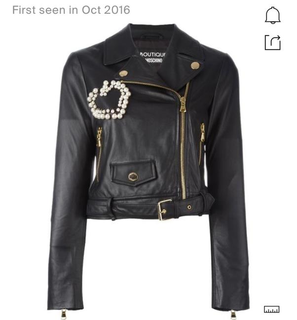 Item - Black W Boutique Moto W/ Pearly Beaded Heart Jacket Size 6 (S)