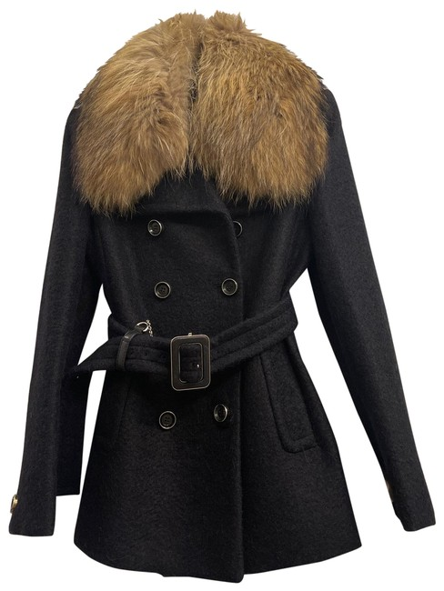 Item - Black Wool and with Belt Coat Size 4 (S)