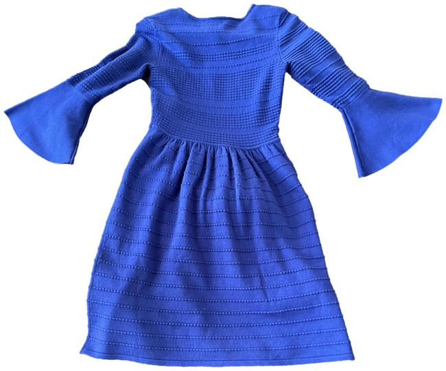 Item - Deep Blue Flared Sleeve Mid-length Work/Office Dress Size 2 (XS)